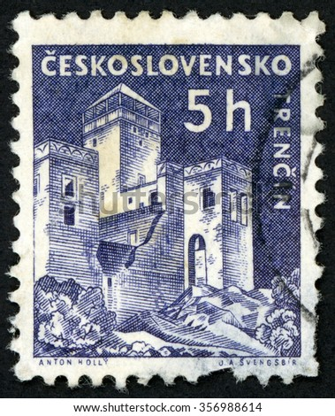 CZECHOSLOVAKIA - CIRCA 1960: post stamp printed in Czech (Ceskoslovensko) shows Trencin castle; Scott 970 A382 5h gray violet; circa 1960 - stock photo