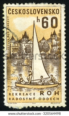 CZECHOSLOVAKIA - CIRCA 1962: post stamp printed in former Czechoslovakia (Ceskoslovensko) shows sailboat and trade union Rest home Roh, Zinkovy; Scott 1136 A432 60h brown yellow; circa 1962 - stock photo