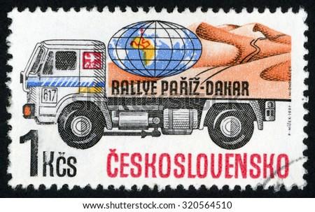 CZECHOSLOVAKIA - CIRCA 1989: post stamp printed in former Czechoslovakia (Ceskoslovensko) shows Liaz globe Paris Dakar Rally competition; trucks series; Scott 2726 A979 1k; circa 1989 - stock photo