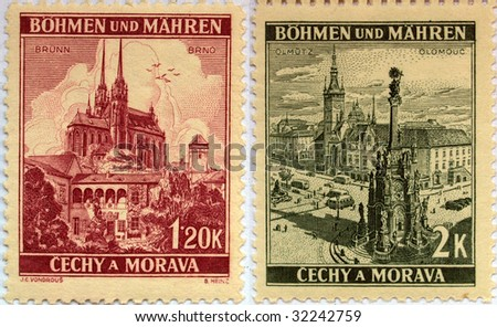 CZECHOSLOVAKIA - CIRCA 1940: post stamps printed in the Czechoslovakia and depicting the czech towns of Brno (cathedral) and Olomouc (Trinity column), series, circa 1940.