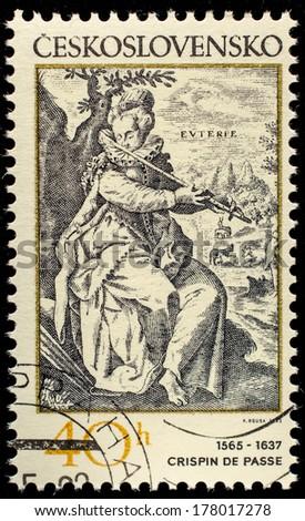 CZECHOSLOVAKIA - CIRCA 1982: postage stamp shows engraving of Crispin de Passe, circa 1982  - stock photo
