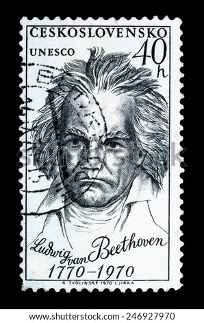 "CZECHOSLOVAKIA - CIRCA 1970: postage stamp shows portrait Ludwig Van Beethoven, the famous German composer and pianist, representative of the ""Viennese school"", circa 1970 - stock photo"