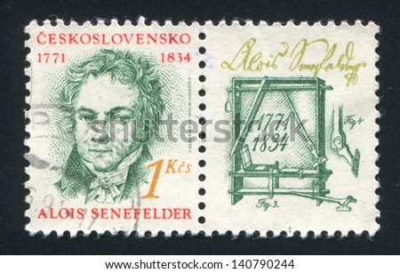 CZECHOSLOVAKIA - CIRCA 1991: stamp printed by Czechoslovakia, shows Alois Senefelder, lithographer, circa 1991