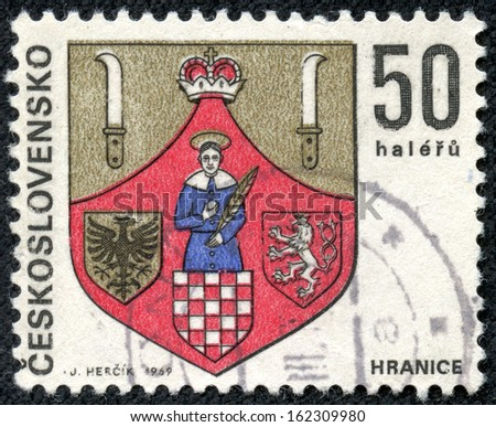 CZECHOSLOVAKIA - CIRCA 1969: stamp printed by Czechoslovakia, shows arms of Hranice, circa 1969