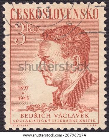 CZECHOSLOVAKIA - CIRCA 1943:stamp printed by Czechoslovakia , shows Bedrich Vaclavek-Czech literary critic,journalist, circa 1943 - stock photo