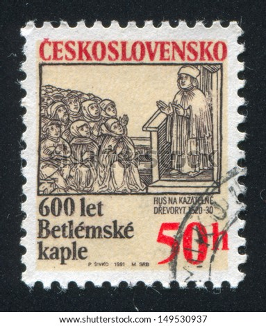 CZECHOSLOVAKIA - CIRCA 1991: stamp printed by Czechoslovakia, shows Bethlehem Chapel, Prague, circa 1991
