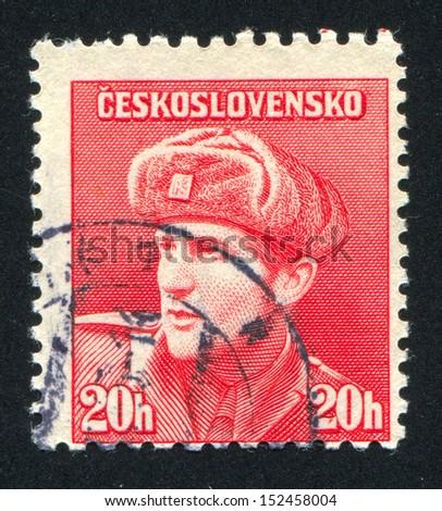 CZECHOSLOVAKIA - CIRCA 1945: stamp printed by Czechoslovakia, shows Captain Otakar Jaros (Russian Army), circa 1945 - stock photo