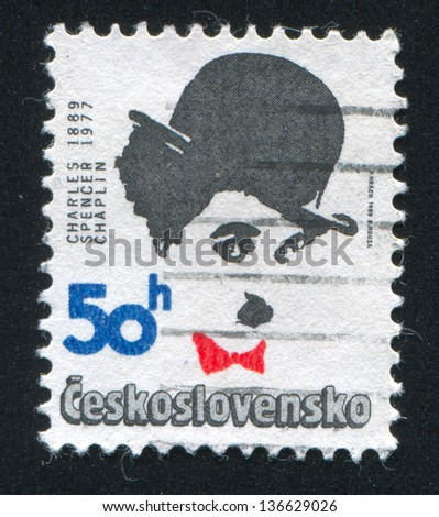 CZECHOSLOVAKIA - CIRCA 1989: stamp printed by Czechoslovakia, shows Charlie Chaplin, circa 1989
