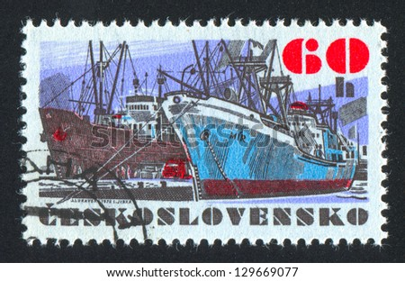 CZECHOSLOVAKIA - CIRCA 1972: stamp printed by Czechoslovakia, shows Czechoslovak sea-going vessel Mir, circa 1972
