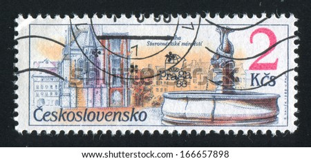 CZECHOSLOVAKIA - CIRCA 1988: stamp printed by Czechoslovakia, shows Exhibition emblem and Old town square, circa 1988