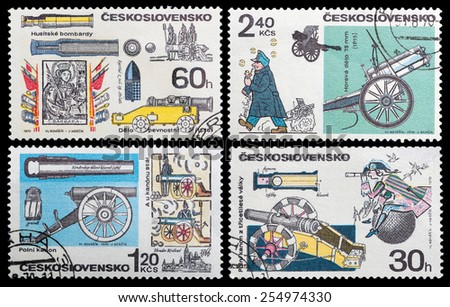 CZECHOSLOVAKIA - CIRCA 1970: stamp printed by Czechoslovakia, shows  field gun manufactured, circa 1970. - stock photo