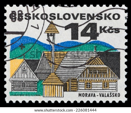 CZECHOSLOVAKIA - CIRCA 1971: stamp printed by Czechoslovakia, shows House and wayside bell stand, circa 1971