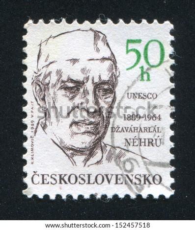 CZECHOSLOVAKIA - CIRCA 1989: stamp printed by Czechoslovakia, shows Jawaharlal Nehru and UNESCO, circa 1989 - stock photo