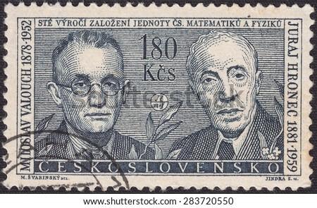 CZECHOSLOVAKIA - CIRCA 1962:stamp printed by Czechoslovakia , shows Jur Hronec - Slovak mathematician, Miloslav Valouch - Czech physicist, circa 1962 - stock photo