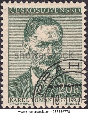 CZECHOSLOVAKIA - CIRCA 1948:stamp printed by Czechoslovakia , shows Karel Toman-Czech poet, circa 1948 - stock photo
