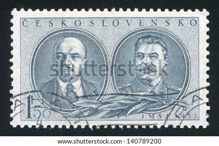 CZECHOSLOVAKIA - CIRCA 1953: stamp printed by Czechoslovakia, shows Lenin and Stalin, circa 1953 - stock photo