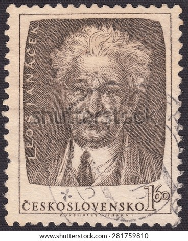 CZECHOSLOVAKIA - CIRCA 1952:stamp printed by Czechoslovakia , shows Leos Janacek- Czech composer, musicologist,ethnographer and educator, circa 1952 - stock photo