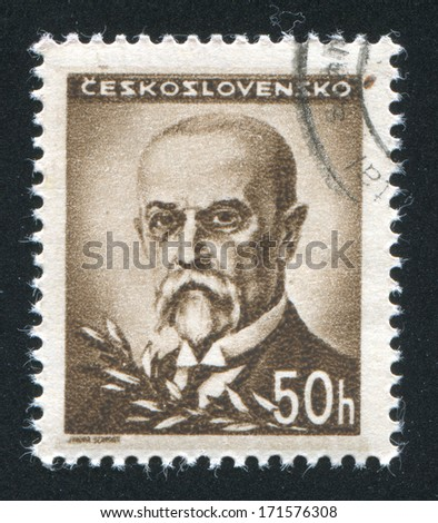 CZECHOSLOVAKIA - CIRCA 1945: stamp printed by Czechoslovakia, shows Masaryk, circa 1945