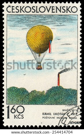 CZECHOSLOVAKIA - CIRCA 1973: Stamp printed by Czechoslovakia shows picture Balloon by famous Czech painter,  Kamil Lhotak, circa 1973 - stock photo