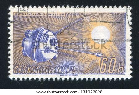 CZECHOSLOVAKIA - CIRCA 1961: stamp printed by Czechoslovakia, shows Soviet Sun Satellite, circa 1961 - stock photo