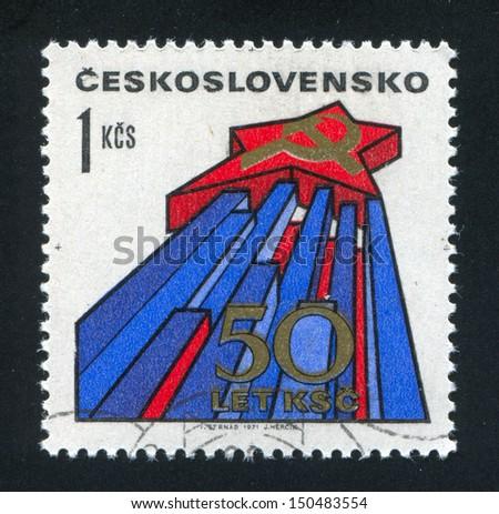 CZECHOSLOVAKIA - CIRCA 1971: stamp printed by Czechoslovakia, shows Star, hammer and sickle, circa 1971 - stock photo