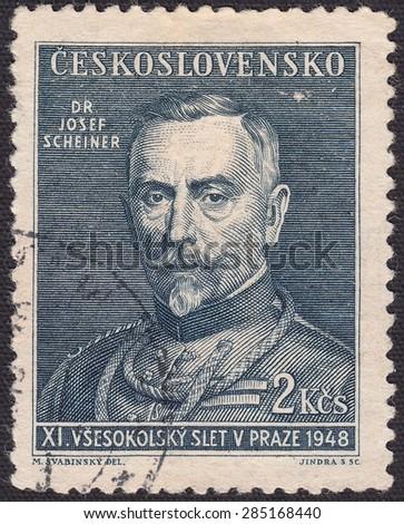 CZECHOSLOVAKIA - CIRCA 1948:stamp printed by Czechoslovakia , shows The superintendent of the Czechoslovak Sokol'skaya communities Josef Scheiner, circa 1948 - stock photo