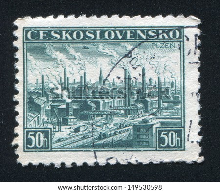 CZECHOSLOVAKIA - CIRCA 1938: stamp printed by Czechoslovakia, shows View of Pilsen, circa 1938
