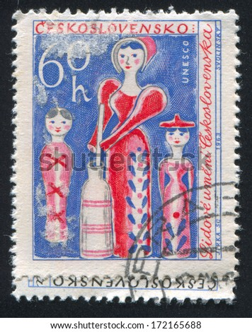 CZECHOSLOVAKIA - CIRCA 1963: stamp printed by Czechoslovakia, shows Wooden Toys, circa 1963 - stock photo