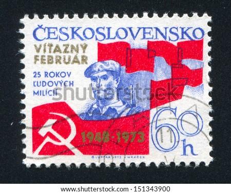 CZECHOSLOVAKIA - CIRCA 1973: stamp printed by Czechoslovakia, shows Workers Militia, Emblem and Flag, circa 1973 - stock photo