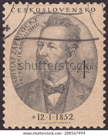 CZECHOSLOVAKIA - CIRCA 1952:stamp printed by Czechoslovakia , shows Zapotocky Ladislav-figure of the Czech workers ' movement,propagandist of Marxism in the Czech Republic, circa 1952 - stock photo