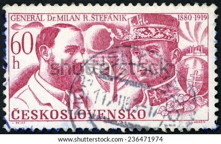CZECHOSLOVAKIA - CIRCA 1969: stamp printed in Ceskoslovensko shows Milan R. Stefanik as Astronomy professor and French general (1880-1919); 50th death anniversary; Scott 1625 A604 60h red; circa 1969 - stock photo