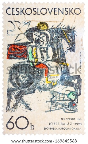 """CZECHOSLOVAKIA - CIRCA 1968: stamp printed in Czech (Czechoslovakia) shows draw by Jozef Balaz """"Happiness"""", circa 1973 - stock photo"""