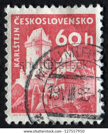CZECHOSLOVAKIA - CIRCA 1960: stamp printed in Czech Republic shows Karlstein Castle. Castles. Scott Catalog 975 A382 60h rose red, circa 1960. - stock photo