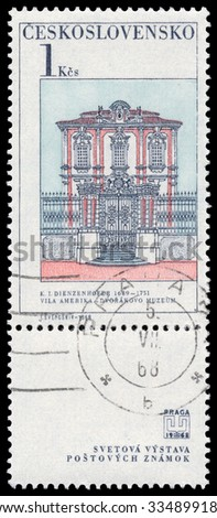 CZECHOSLOVAKIA - CIRCA 1968: Stamp printed in Czechoslovakia, shows  building of Dvorak's Museum, circa 1968 - stock photo