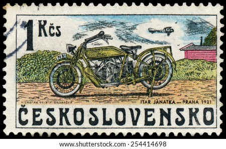 CZECHOSLOVAKIA - CIRCA 1975: Stamp printed in Czechoslovakia, shows Motorcycle, ITAR, 1921, circa 1975 - stock photo