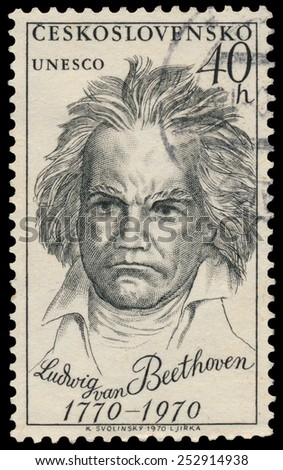 CZECHOSLOVAKIA - CIRCA 1970: Stamp printed in Czechoslovakia shows portrait Ludwig van Beethoven, the famous German composer and pianist, circa 1970 - stock photo