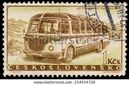 CZECHOSLOVAKIA - CIRCA 1958: Stamp printed in Czechoslovakia, shows Skoda 706 RTO bus, circa 1958 - stock photo