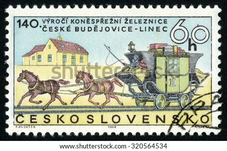 CZECHOSLOVAKIA - CIRCA 1968: stamp printed in former Czechoslovakia (Ceskoslovensko) shows stagecoach on rails; 140th anniversary of horse drawn railroad Ceske Budejovice to Linz; Scott 1556 A585 60 h, circa 1968 - stock photo