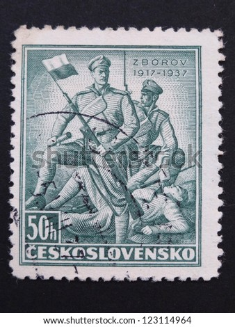 CZECHOSLOVAKIA - CIRCA 1937: Stamp printed in former Czechoslovakia commemorates 20th anniversary of Battle of Zborov, where Czech Legionaries fought, circa 1937. - stock photo