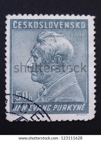 CZECHOSLOVAKIA - CIRCA 1937: Stamp printed in former Czechoslovakia commemorates 150th birth anniversary of Czech anatomist and physiologist J.E. Purkyne, circa 1937. - stock photo