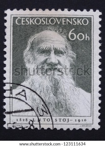 CZECHOSLOVAKIA - CIRCA 1953: Stamp printed in former Czechoslovakia commemorates 125th Birth Anniversary of Russian writer Lev Tolstoy, circa 1953 - stock photo