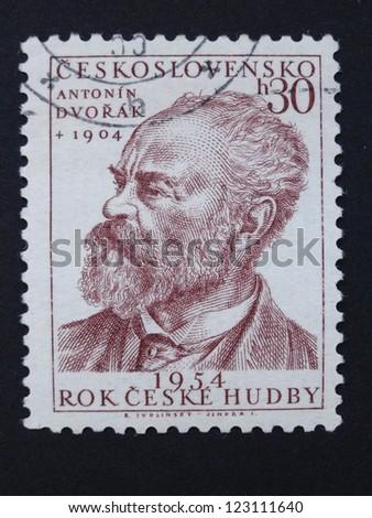 CZECHOSLOVAKIA - CIRCA 1954: Stamp printed in former Czechoslovakia shows Czech composer Antonin Dvorak, Czech Music Year 1954, circa 1954. - stock photo