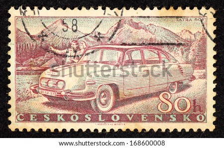 CZECHOSLOVAKIA - CIRCA 1958: Stamps printed in Czechoslovakia with image of an automobile named Tatra 608, circa 1958.  - stock photo