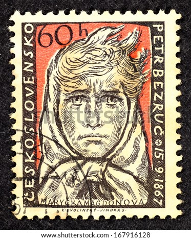 CZECHOSLOVAKIA - CIRCA 1957: Stamps printed in Czechoslovakia with the portrait of Marycka Magdonova which is a character in a poem written by Petr Bezruc, circa 1957. - stock photo