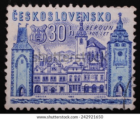 Czechoslovakia- Circa 1965 year: postage stamp printed in Czechoslovakia shows image of the castle 700 years of Beroun blue graphics on a white background - stock photo