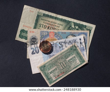 Czechoslovakian money, withdrawn when Czechoslovakia split in 1993 - stock photo