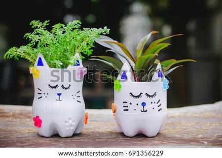 Diy Plastic Bottle Craft Kidscrafts Kids Stock Photo