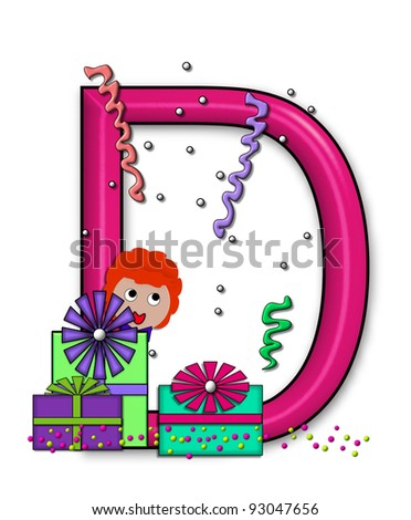"""D, in the alphabet set """"Birthday Letters"""", is surrounded by colorfully wrapped presents complete with bows.  Woman hides behind presents and peeks out pretending surprise. - stock photo"""