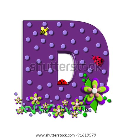 """D, in the alphabet set """"Buzzing Garden"""", is decorated with three dimensional polka dots and a three layer flower.  Purple letters are decorated with lady bugs, snakes and bees. - stock photo"""