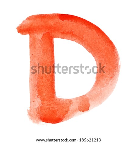D - Watercolor letters over white background